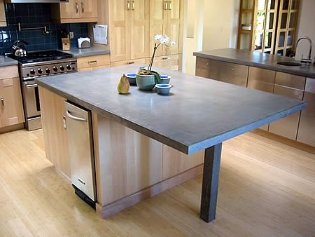 Kitchen Island, Slate Concrete Countertops Gray Matter Concrete Design Fairfax, CA