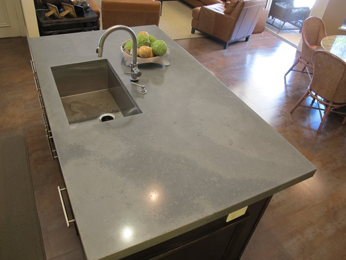Kitchen Island, Undermount Sink Concrete Countertops Thiel Studio Designs, LLC. West Palm Beach, FL