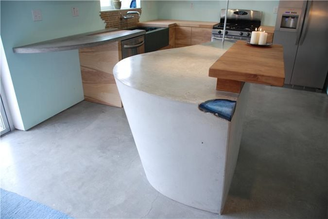 Light Grey, Modern Counter, Modern Kitchen Insland Concrete Countertops DC Custom Concrete San Diego, CA