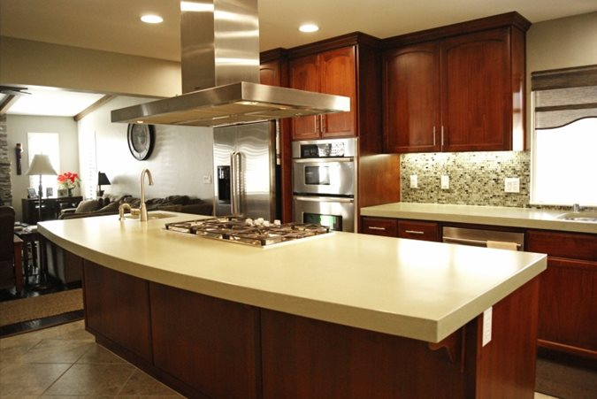 Oversized, Kitchen, Island Concrete Countertops Flying Turtle Cast Concrete Modesto, CA