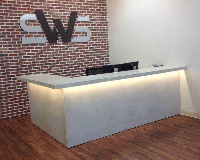 Reception Desk, Recessed Track Lighting Concrete Countertops COUNTERintelligence of Altanta Atlanta, GA
