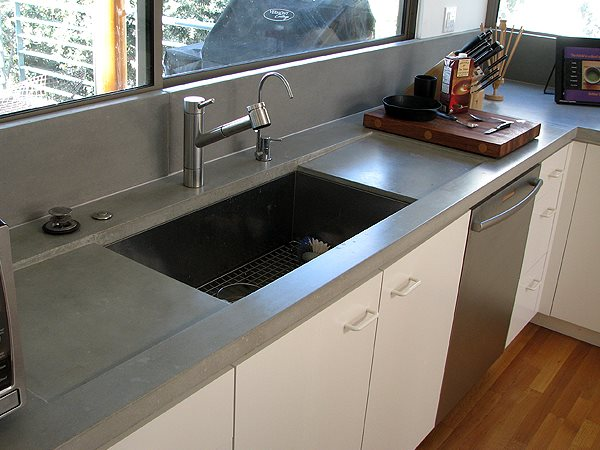 Residential Concrete Countertop, Sink Backsplash Concrete Countertops Ernsdorf Design, Inc Los Angeles, CA