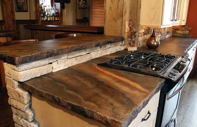 Rustic Countertop, Color Striations, Rough Edge Concrete Countertops SunWorks, etc. LLC Annville, PA