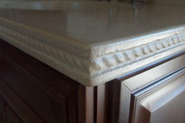 Speckled Grey, Detailed Edge, Countertop Concrete Countertops Lampe Concrete Studio San Marcos, CA
