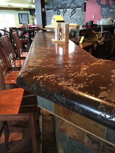 Thick Seamless Bar Top Concrete Countertops Global Surface Solutions Kelowna, BC