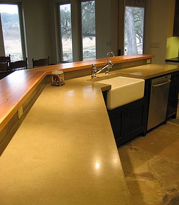 Two Level, Wheat Concrete Countertops Riverbed Concrete Boerne, TX