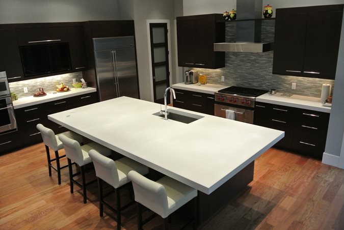 White, Island, Kitchen Concrete Countertops Hard Topix Jenison, MI