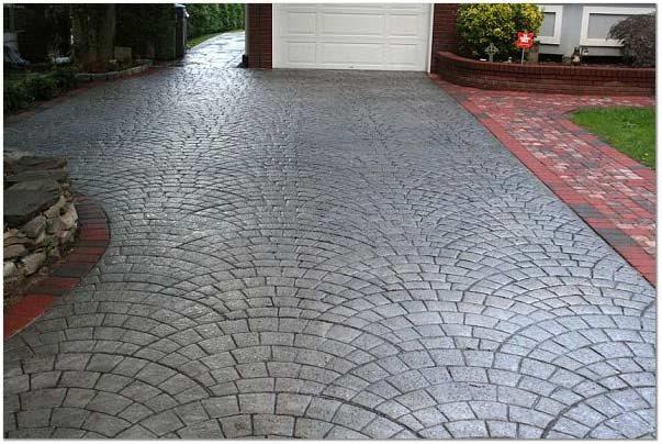 Charcoal, Silver Concrete Driveways Starburst Concrete Design Brewster, NY
