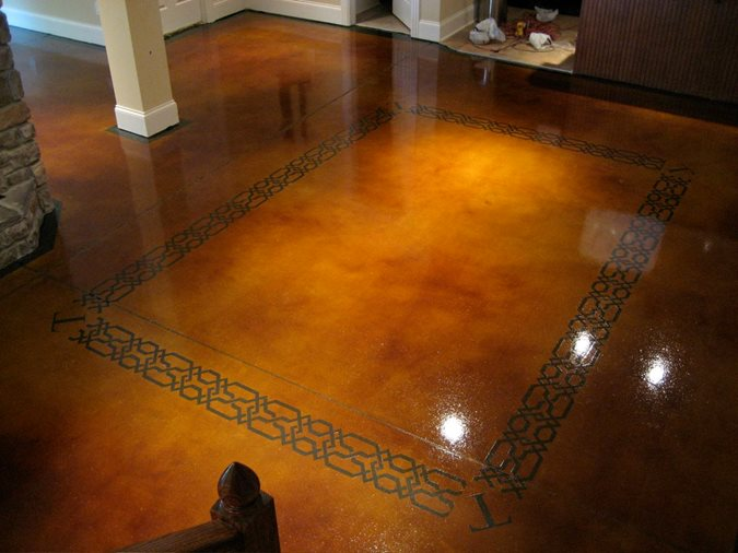 Dye And Seal Concrete, Stained Concrete, Brown Stained Concrete Floor Concrete Floors The Design Center Franklin, TN