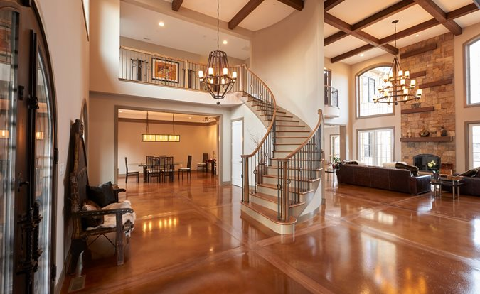 Stained Concrete, Walnut Inlays Concrete Floors Hyde Concrete Pasadena, MD
