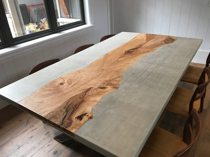 Dining Table, Concrete Table, Maple Inlay Concrete Furniture Total Concrete Innovations Cambridge, ON