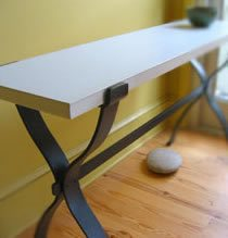 Entry Table, Black & White Concrete Furniture Merge Design Company Raleigh, NC