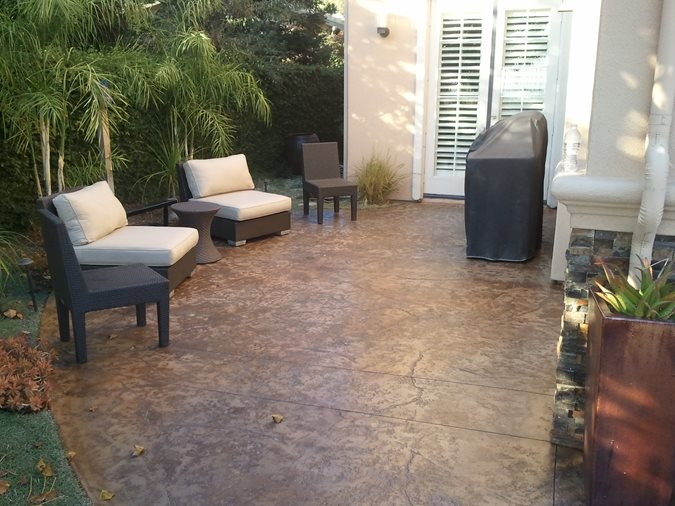Brown Textured Concrete Patio Concrete Patios Stained Concrete Originals Los Angeles, CA