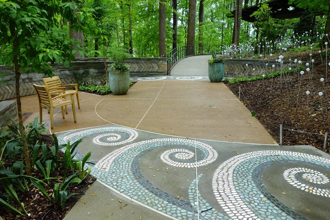 T.b. Penick & Sons, Atlanta Botanical Garden, Storza Woods, Wave Mosaic Concrete Walkways T.B. Penick & Sons, Inc. San Diego, CA