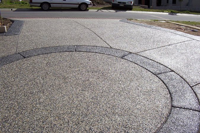 Exposed Aggregate, Circle Exposed Aggregate Hendersons Concreting Services pty Ltd New South Wales, Australia