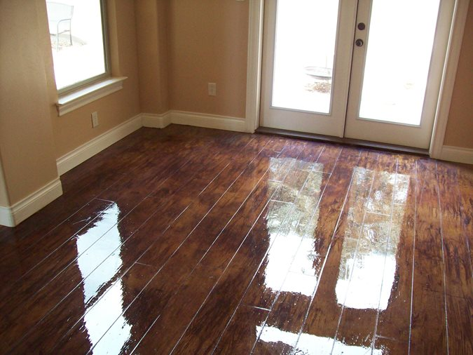 Faux Wood Floor Custom Concrete Solutions Schertz, TX