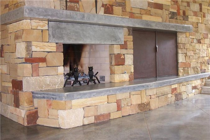 Photo gallery fireplace surrounds dripping springs tx for Concrete mantels and hearths