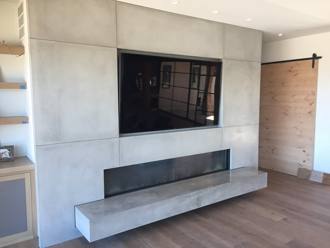 Modern, Floating Hearth Fireplace Surrounds DC Custom Concrete San Diego, CA