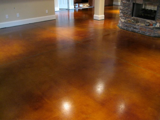 Photo gallery get the look stained floors franklin for Concrete basement floor