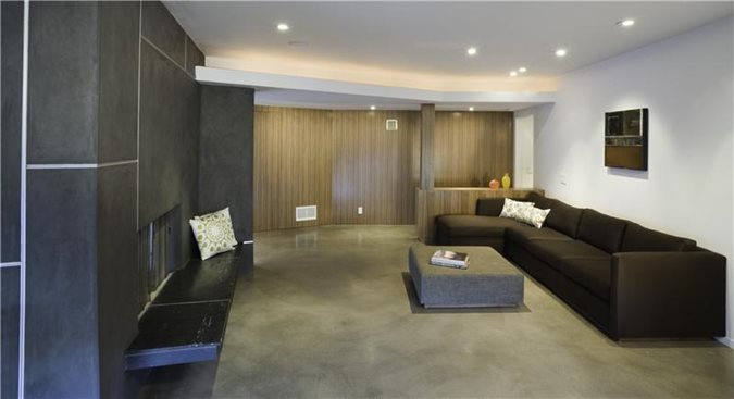 Photo gallery gray floors los angeles ca the - Concrete floor living room ...