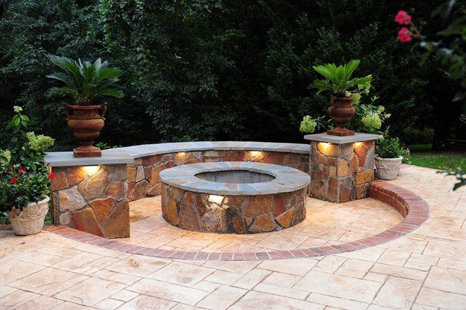 Fire Pit, Seat Wall, Stamped Concrete Outdoor Fire Pits Salzano Custom Concrete Aldie, VA