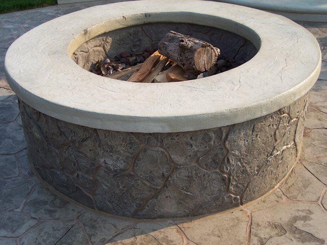 Custom Backyard Fire Pits : Outdoor Fire Pit, Stamped Concrete Fire PitOutdoor Fire PitsCustom