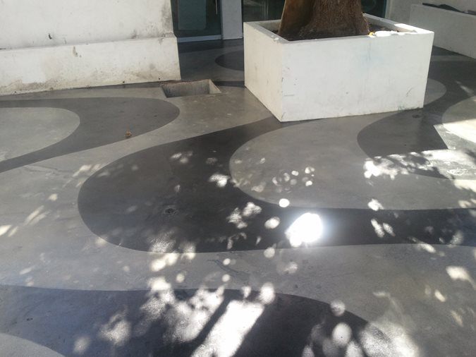 Black And Gray Abstract Pattern Site Stained Concrete Originals Los Angeles, CA