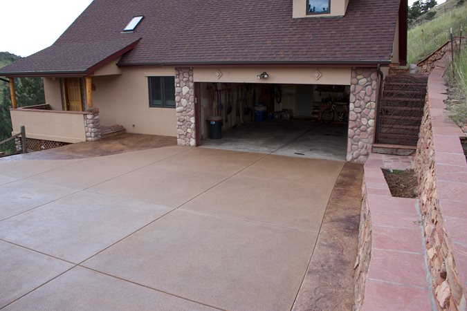 Brown Exposed Aggregate Driveway Site Diehl Concrete Sedalia, CO