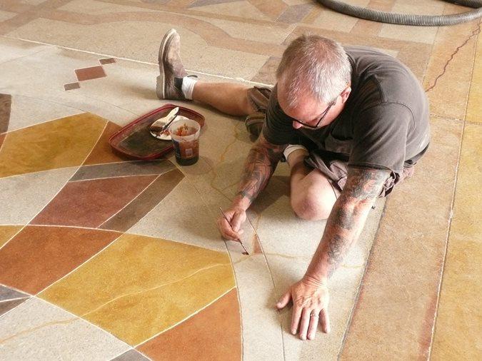 Brush Applying Dyes Site Decorative Concrete Institute Temple, GA