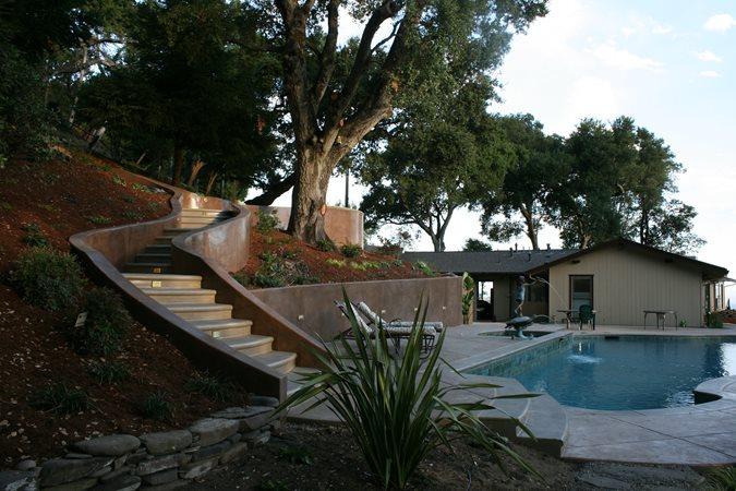 Colored Concrete Retaining Walls Site Tom Ralston Concrete Santa Cruz, CA