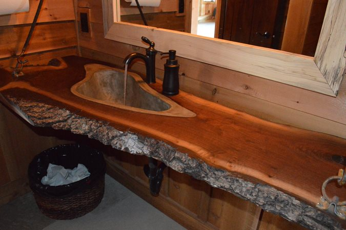 Concrete And Walnut Sinks Site Concrete Designs Overland Park, KS