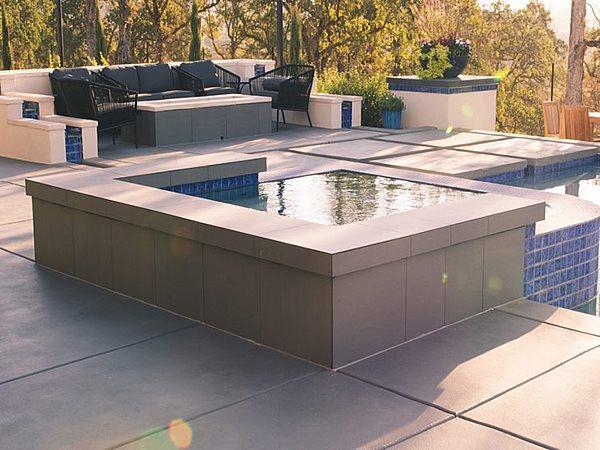 Concrete, Concrete Pool Deck, Concrete Spa, Decorative Concrete, Outdoor Living Site Quick Creations Newcastle, CA