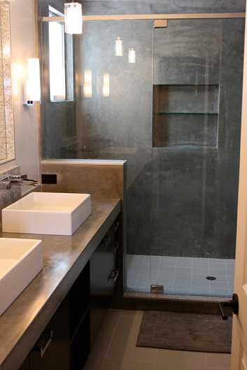 Concrete Counter, Double Sinks Site Concrete Wave Design Anaheim, CA