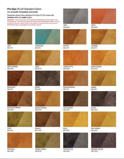 Concrete Dye, Color Chart Site Brickform Rialto, CA
