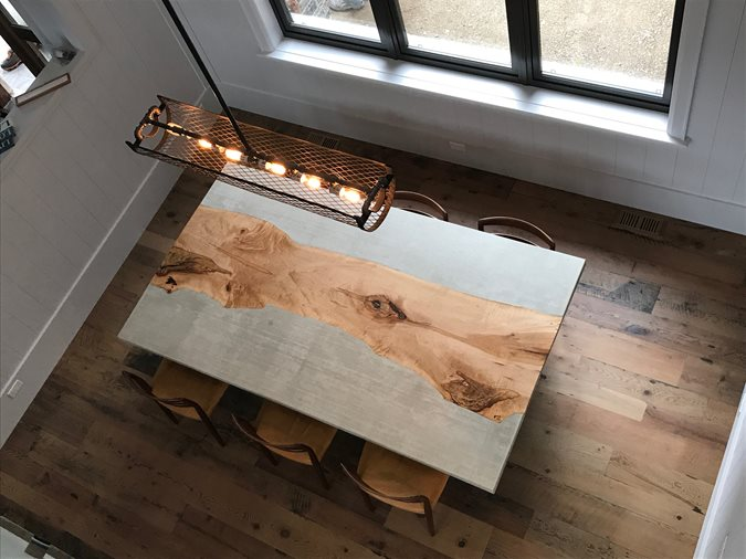 Concrete Table, Maple Inlay Site Total Concrete Innovations Cambridge, ON