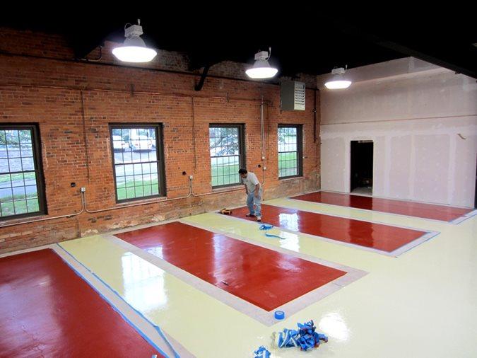 Epoxy Coating, Auto Shop, Parking Stalls, Red Epoxy Site Custom Concrete Solutions, LLC West Hartford, CT
