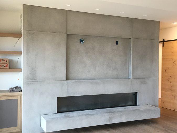 Fireplace Tv Mounting Site DC Custom Concrete San Diego, CA