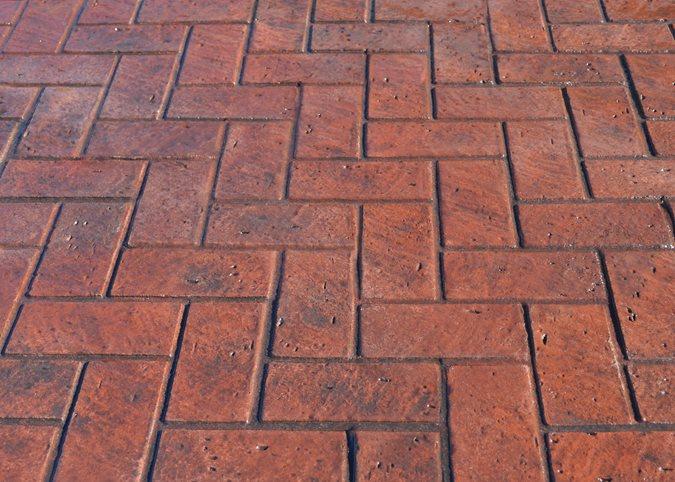 Herringbone New Brick, Stamped Concrete Site Brickform Rialto, CA