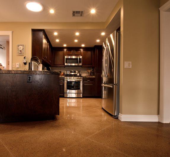 Kitchen Floor, Polishable Overlay Site ACI Flooring Inc Beaumont, CA