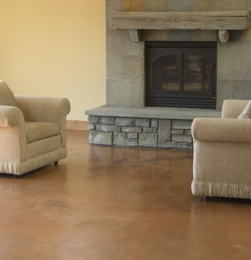 Living Room, Brown, Fireplace Site Kent Magnell Concrete Artisan Santa Rosa, CA