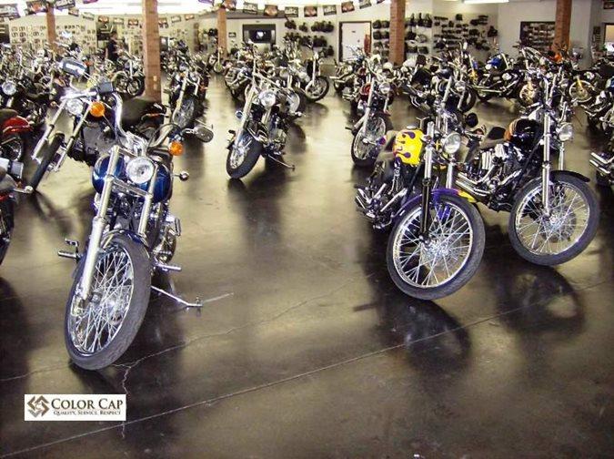 Motorcycle Showroom, Concrete Floor Site Color Cap Concrete Coatings, Inc. Sherman, TX