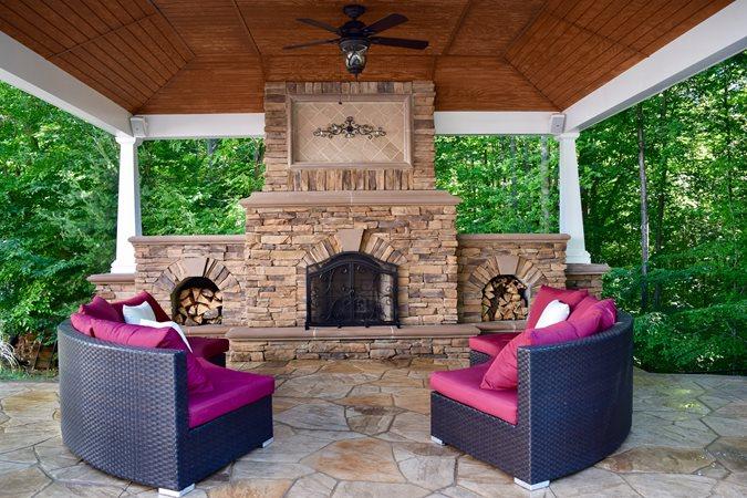 Outdoor Fireplace, Outdoor Pavilion Site Greystone Masonry Inc Stafford, VA