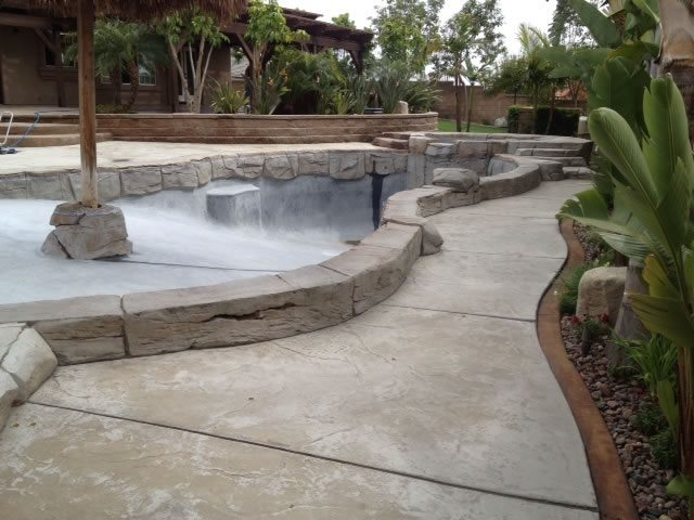 Pool Deck Before Site KB Concrete Staining Norco, CA