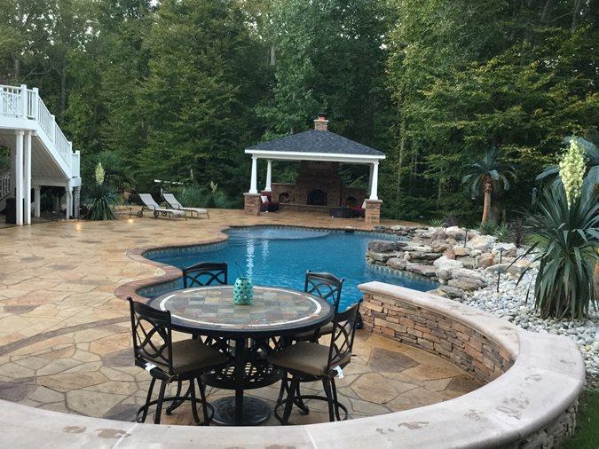 Pool Deck, Stamped Concrete, Woodbridge Site Greystone Masonry Inc Stafford, VA