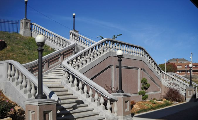 Railroad Depot Staircase, Architectural Concrete Site Concrete Strategies St. Louis, MO