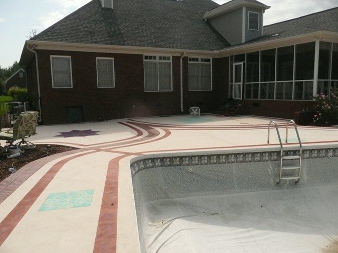 Resurfaced Pool Deck Site Decorative Concrete Institute Temple, GA