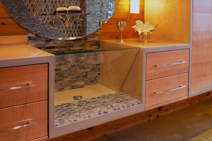 River Rock, Concrete Sink, Glass Site Crouch Concrete, Inc. Sequim, WA