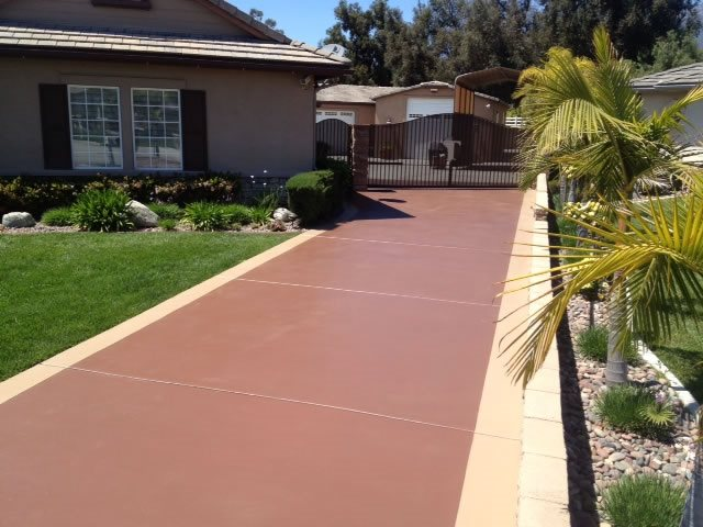 Stained Existing Driveway Site KB Concrete Staining Norco, CA