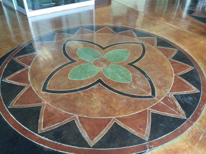 Stained Floor, Decorative Medallion, Scofield Award Site Concrete by Hallack Turlock, CA