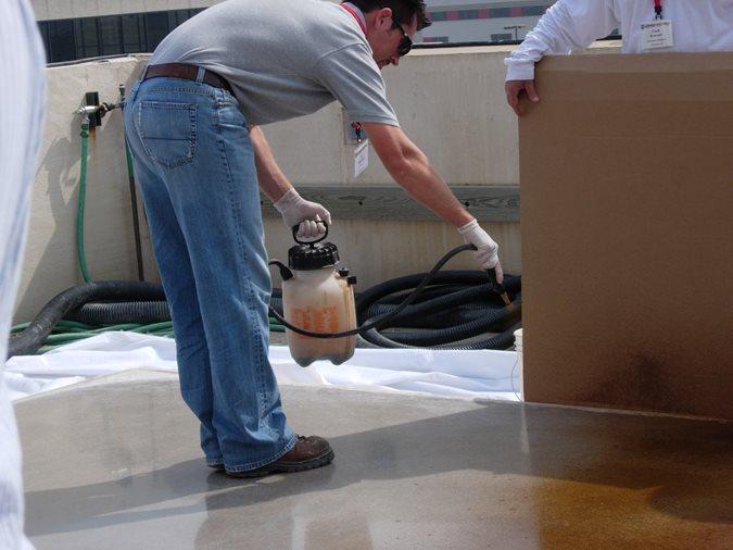 Staining Concrete, Spraying Acid Stain Site ConcreteNetwork.com